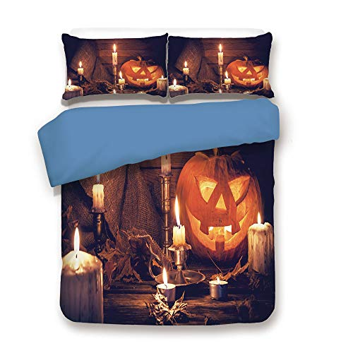Duvet Cover Set,BLUE BACK,Halloween,Rustic Home Wooden Planks Burning