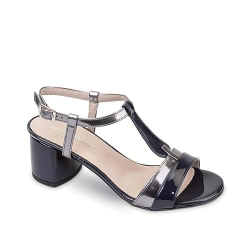 f1c5725c7f VALLEVERDE 45331 Sandali Scarpe Tacco Elegante Pelle Donna Blu ...