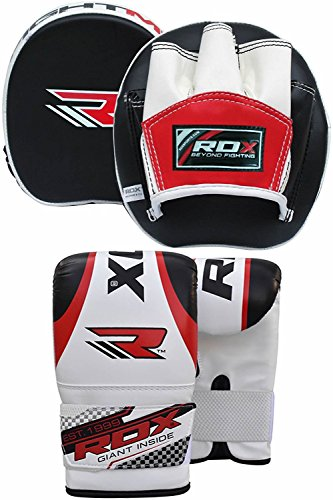 RDX Boxing Focus Bag MMA Training Punching Hook & Jab Strike Pads Target With Bag Mitts