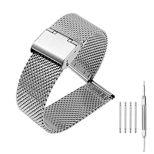 Hook Buckle Bracelet (18mm Mesh Watch Band Stainless Steel Milanese Loop Metal Bracelet with Hook Buckle Clasp - Silver)