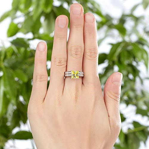 Exquisite Selebrity 1.5 Ct Princess Cut Yellow Canary Solid 925 Sterling Silver 2-Pcs Wedding Engagement Promise Anniversary Ring Set 8194S