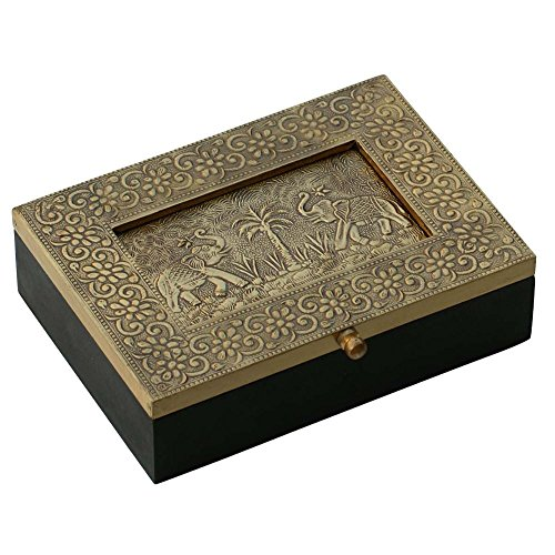SouvNear 7.5 Inch Metal Sheet and Wooden Jewelry Box with Dancing Elephant Photo Frame and - Frame Gold Glasses For Sale