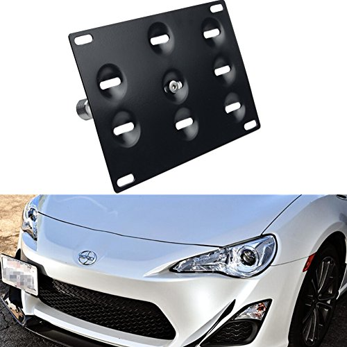 Dewhel Front Bumper Aluminum JDM Tow Hook License Plate Mount Bracket Holder Bolt On Fits Toyota GT86 Scion FRS BRZ