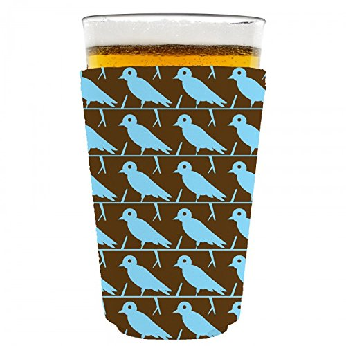 (Coolie Junction Birds Pattern Pint Glass Coolie Blue/Brown)