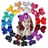 15Pcs Bling 6 Inch Hair Bows Large Big Sparkly Glitter Sequin Bows Alligator Hair Clips for Baby Girls Toddlers Kids Children Teens