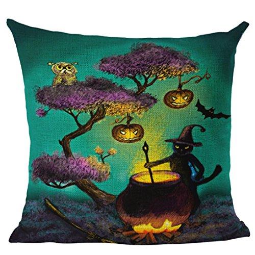Creazy Happy Halloween Linen Throw Pillow Case Cushion Cover Home Sofa Decor New -