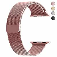 top4cus Double Electroplating Milanese Loop Stainless Steel Replacement iWatch Band with Magnetic Closure Clasp for Apple Watch (Milanese Rose Gold - Fulfilled By Amazon, 42mm Regular Length)