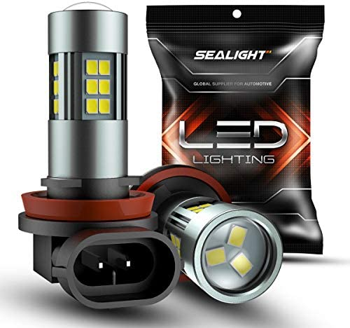 SEALIGHT H11/H8/H16 LED Fog Light Bulbs, 6000K Xenon White, 27 SMD Chips, 360-degree Illumination, Non-polarity, Pack of two