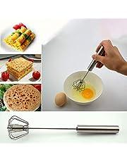 Stainless Steel Manual Whisk Egg Beater reaker Rotary - Versatile Tool for Egg Beater, Milk Frother, Hand Push Mixer Stirrer - Kitchen Utensil for Blending, Whisking, Beating & Stirring