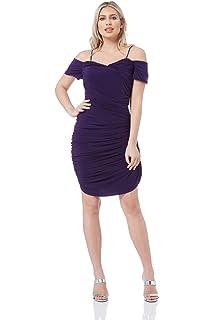 ddba5b312ebc Roman Originals Womens Ruched Off The Shoulder Dress - Ladies Sweetheart  Neckline Knee Length Bodycon Flattering Going…