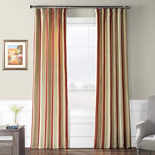 PTS-SLK211-108 Faux Silk Taffeta Stripe Curtain, 50 X 108, Manchester