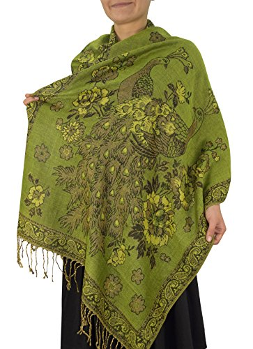 Peach Couture Floral Peacock Reversible Shimmer Layered Pashmina Wrap Shawl Scarf Olive