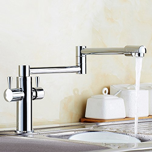 etractable Pot Filler Kitchen Faucet with Double Handle(Chrome) (Pot Fillers Double Handle)