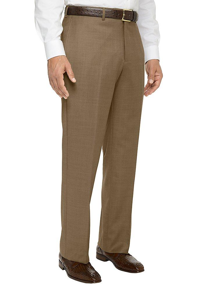 Paul Fredrick Men's Super 120s Sharkskin Flat Front Suit Pant Tan 38 by Paul Fredrick