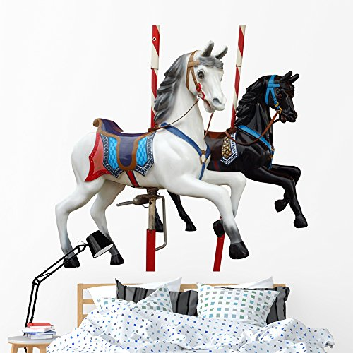 Wallmonkeys Two Merry-go-round Horses with Wall Decal Peel and Stick Decals for Girls (60 in W x 48 in H) WM113254