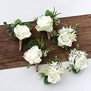 Wedding Planner Roses Artificial Silk Flower Wrist Corsage Bracelet Groom Boutonniere White Wedding Men Marriage Flowers 89