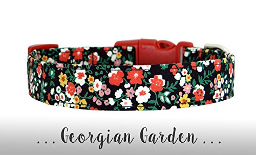 Red, Black, Yellow and Pink Flower Dog Collar; Floral Dog Collar: Georgian Garden -