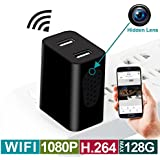 Wireless Hidden Surveillance Camera USB Charger - Support Side View, H.264 Video Recorder, Motion Detection, AC Adapter, Remote App Control, 1080P HD Resolution for Home Surveillance Spy Cameras