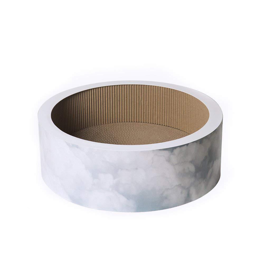 pidan Round Premium Cardboard Scratcher Lounge, White by pidan