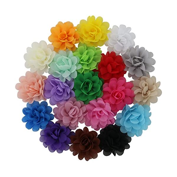 QingHan 20 Colors Baby Girl Chiffon Flowers Lined Hair Bows Clips for Teens Girls Babies Toddlers