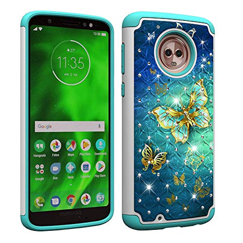 NVWA for Motorola Moto G6 Case 2018 [Heavy Duty] Tough Dual Layer 2 in 1 Rugged Rubber Hybrid Hard Plastic Soft TPU Back Protective Cover Coloured Drawing with Glitter Diamond - Gold Butterfly