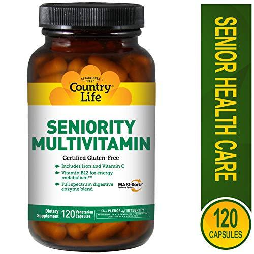 Country Life Seniority Multivitamin - 120 Veg Caps - Full Spectrum Digestive Enzyme Blend - B12 for Energy Metabolism