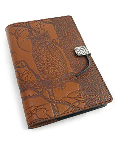 (Modern Artisans Night Owl American-Made Embossed Leather Writing Journal Cover, 6 x 9-inch + Refillable Hardbound Insert Book)