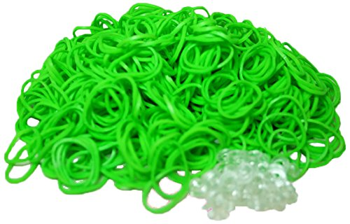 Bluedot Trading 600-Piece Do-It-Yourself Bracelet Kit Refill Pack, Includes Rubber Band and S-Clips for Loom Art/Kids Craft with Rainbow, Lime Green