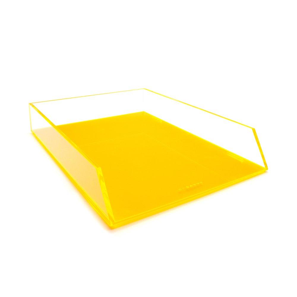 Single Orange Acryl Kunststoff Stapeln, Ablagekorb Schreibtisch Tidy Organizer für A4Buchstaben und Dokument Halter Lund London