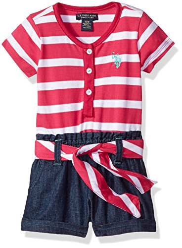 U.S. Polo Assn. Baby Girls' Henley Romper, Fuchsia, 12M