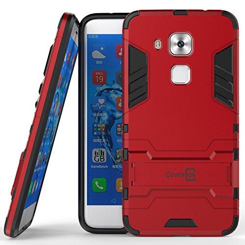 Huawei Nova Plus Case, Huawei G9 Plus Case, CoverON [Shadow Armor Series] Hard Slim Hybrid Kickstand Phone Cover Case for Huawei Nova Plus / G9 Plus - Red/Black
