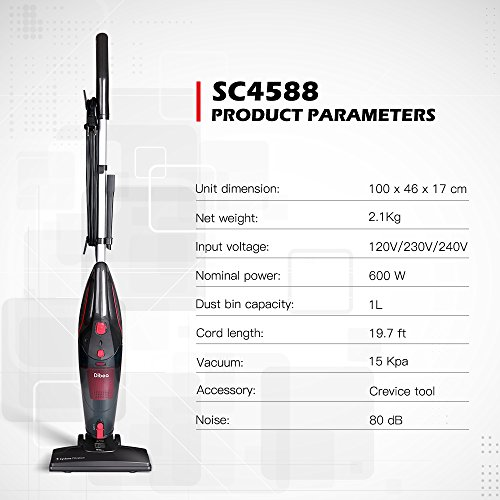 Dibea 600W Lightweight Corded Stick Vacuum Cleaner, 2 in 1 Bagless Hard Floor Pet Hair Vacuum with Cyclone HEPA Filtration & Crevice Tool-SC4588 by Dibea (Image #6)
