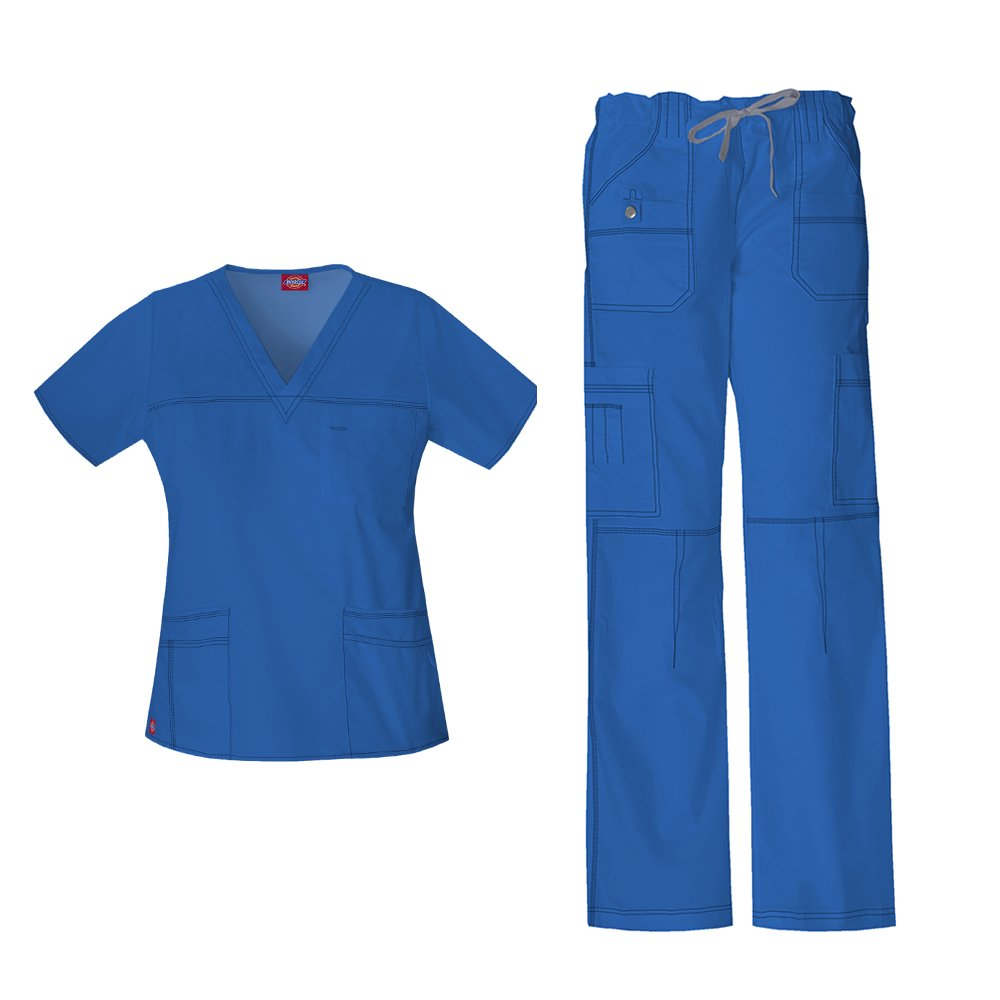 Dickies Women's Gen Flex Junior Fit 'Youtility' Top 817455 & Low Rise Drawstring Cargo Pant 857455 Scrub Set (Royal - XX-Large / XXL Tall)