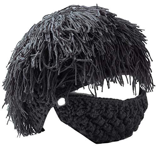 - Thenice Savage Beard Hand Made Wool Cap Skull Cap Knitted hat (Black)