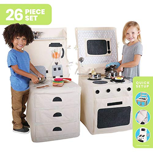 Pop Oh Ver 26 PC Bundle Set; Pretend Stove & Microwave, Counter Top with Blender, Plush Food and Pots & Pans Metal Accessories Set; Pretend Kitchen Playset with Kitchen Toys