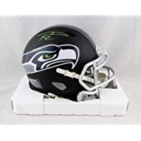 $235 » Russell Wilson Autographed Seattle Seahawks Flat Black Mini Helmet- Wilson Holo Green