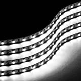 neon car lights exterior - Zone Tech 30cm LED Car Flexible Waterproof Light Strip WHITE (pack of 4)
