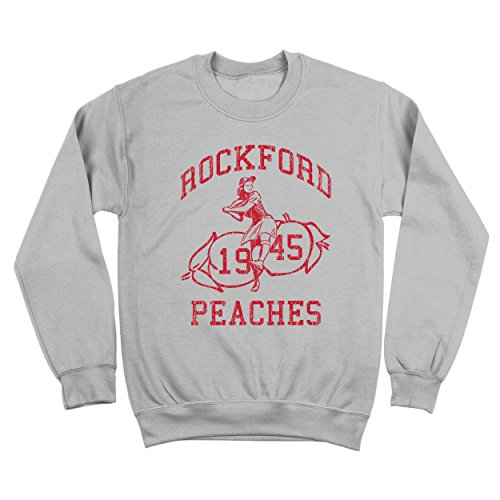 Rockford Sweatshirt - Donkey Tees Rockford Peaches Baseball League of Their Own Mens Sweatshirt Small Gray