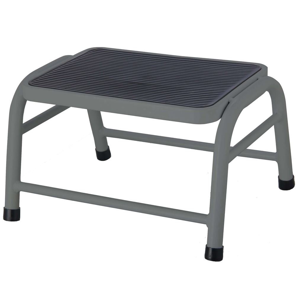 Home Discount® One Step Stool Metal Anti Slip Rubber Mat In Silver, Bathroom Kitchen Baby