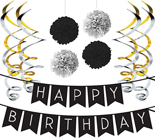 Sterling James Co. Birthday Party Pack – Black & Silver Happy Birthday Bunting, Poms, and Swirls Pack- Birthday Decorations - 21st - 30th - 40th - 50th Birthday Party Supplies
