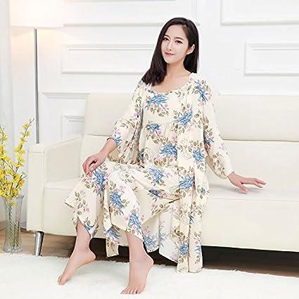 Syksdy Bata Kimono Traje Femenino Mujer Pijama Conjunto Sleep & Lounge Tres Piezas Rojo Azul Vestido