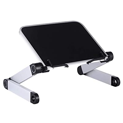 INFILM Aluminum Laptop Stand Lap Desk Tray Book Reading Shelf Ergonomic for Bed Couch. 360 Degree Adjustable Portable Tilt Notebook Pro Computer Riser Folding Desktop Holder: Kitchen & Dining