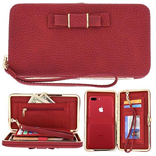 Women Phone Wallet Case, Trader Plus Multi-purpose Long Style Leather Clutch Handbag Bow-Knot Purse Cellphone Case for iPhone 7/7Plus/6s/6s Plus/6/6Plus/5/5C Galaxy s6/S6 edge (Bow Clutch)
