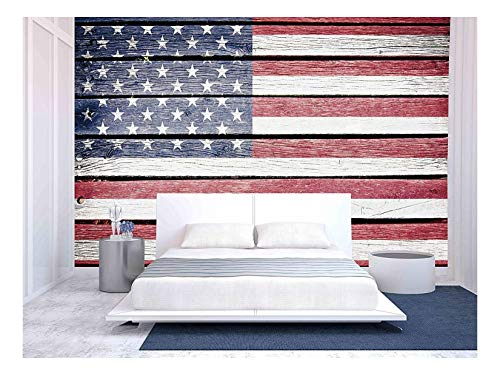 wall26 - USA, American Flag Painted on Old Wood Plank Background - Removable Wall Mural | Self-Adhesive Large Wallpaper - 66x96 -