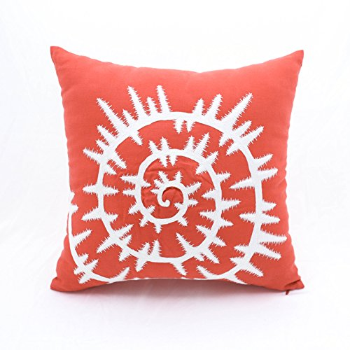 Discount KainKain Sea Shell Throw Pillow Cover Orange Coral Cotton Linen Square Embroidered Couch Pillow White Nautical Decoration (16 inch x 16 inch)