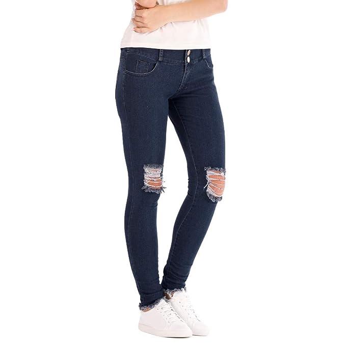 Pantalones Vaqueros De Talle Bajo con Cintura Baja Y Pantalones Elásticos Pantalones Vaqueros Lápiz hasta La Pantorrilla Jeans Rotos Moto Hippies ...