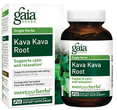 Gaia Herbs Kava Kava Root, Vegan Liquid Capsules, 60 Count - Supports Emotional Balance, Calm & Relaxation, Guaranteed Potency 75mg Active Kavalactones ()