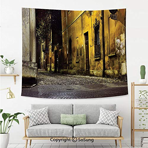 Street Decor Wall Tapestry,Old Ancient Empty Dark City Streets Avenues with Big Light and Homes Photo,Bedroom Living Room Dorm Wall Hanging,92X70 Inches,Multicolor