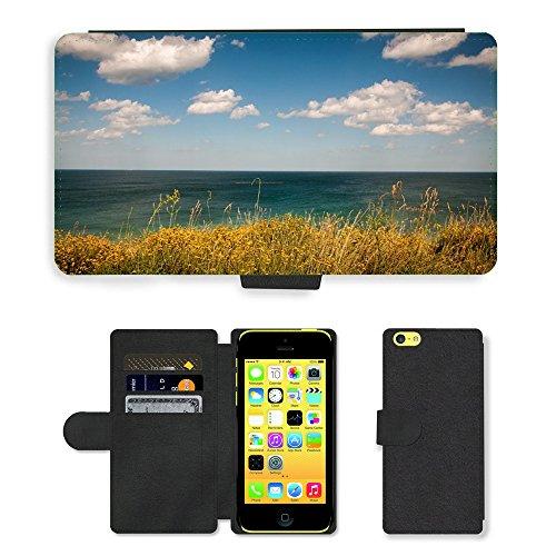 PU Leather Cover Custodia per // M00421551 Plantes océan l'eau de mer Sky Clouds // Apple iPhone 5C