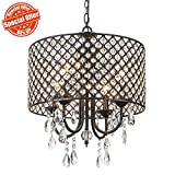 SOTTAE Modern Crystal Beaded Drum Shade 4 Lights Pendant Light, Chandelier for Living Room, Dining Room For Sale